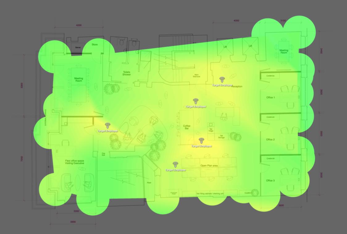 Heatmap of Wifi in Office - Office 21